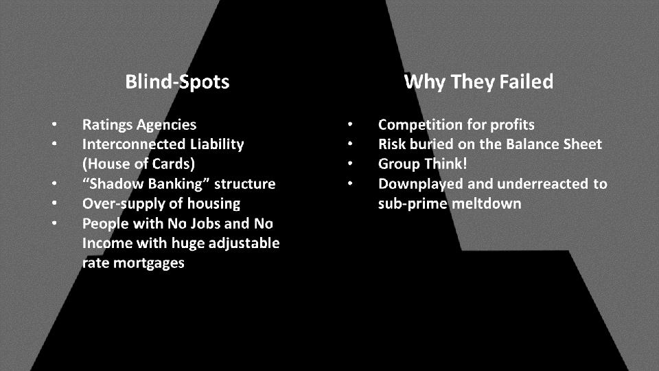 Steve Jukes — Blind Spots, Why They Failed